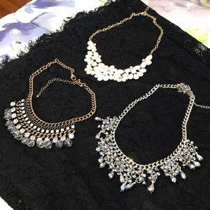 3 statement necklaces - silver, bronze, gold